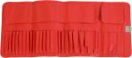 תיק דמוי עור אדום למברשות איפור -18 מברשות