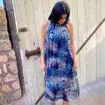 שמלת משי קולר צבעונית ארוכה