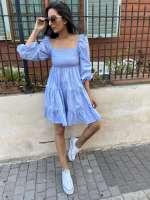 שמלת כיווצים עם שרוול