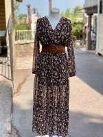 שמלת פרחים מקסי - רקע חום