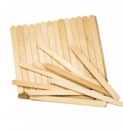 שפדלים מעץ לשעווה דקים -100 יחידות במארז