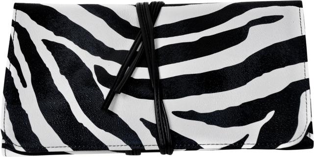 תיק דמוי עור זברה ל24 מברשות איפור