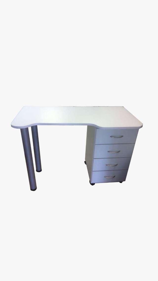 שולחן 4 מגירות רגלים ניקל