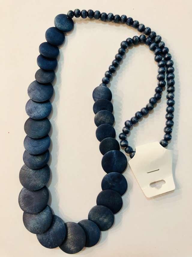 שרשרת מטבעות ארוכה בגוון כחול כהה