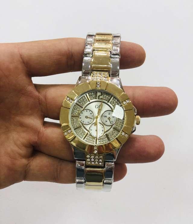 שעון מתכת משולב זהב וכסף