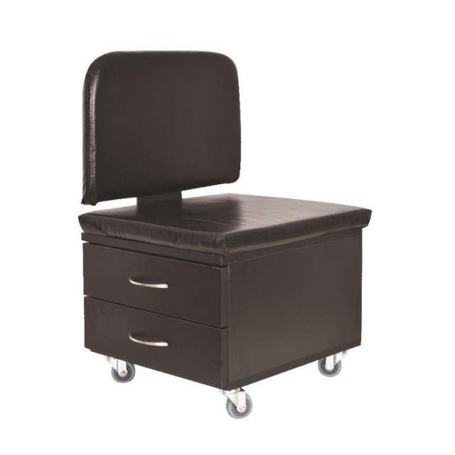 כסא פדיקור 2 מגירות בצבע שחור