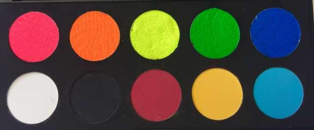 פלטת 10 צבעי מים בסיס + זוהרים באולטרה