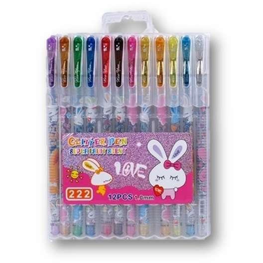סט 12 עטים נוצצים צבעוניים