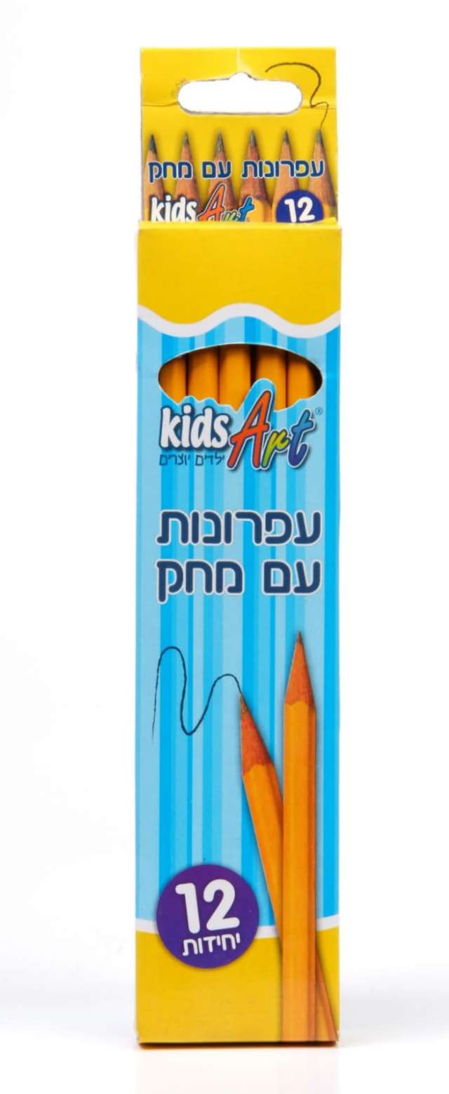 מארז 12 עפרונות עם ראש מחק