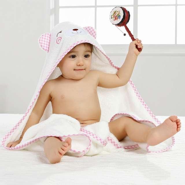 מגבת לתינוק/ילד עם קפוצ'ון  דגם דוב ורוד