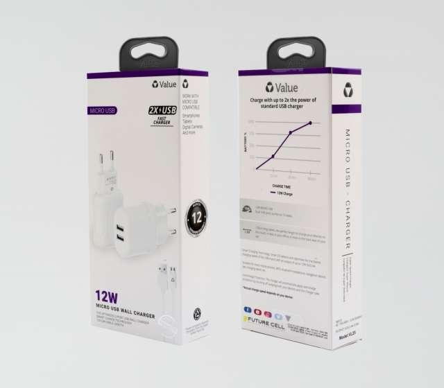 מטען קיר מיקרו מהיר מיקרו USB מבית חברת VALUE