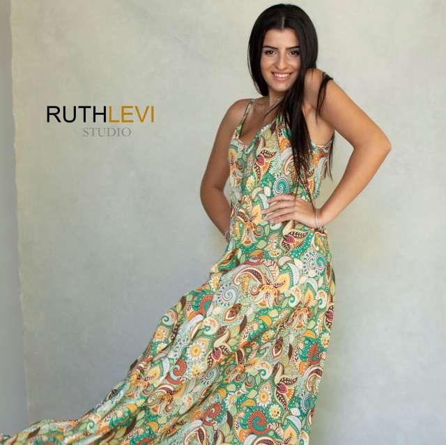 שמלת כותנה צבעונית ארוכה מקסי