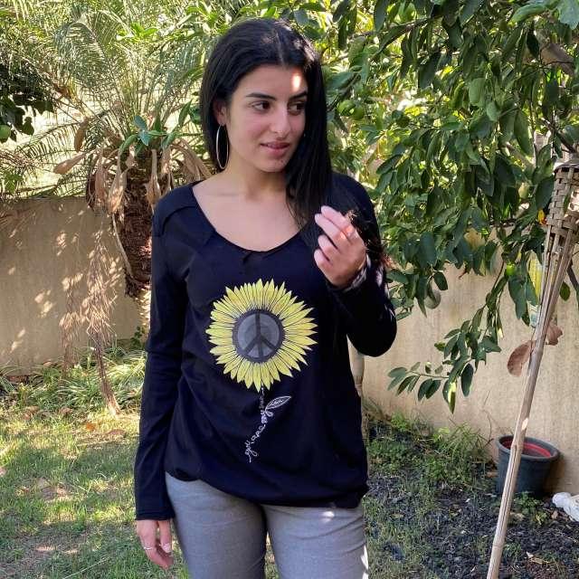 חולצת טישרט ארוכה חמניה- שחורה
