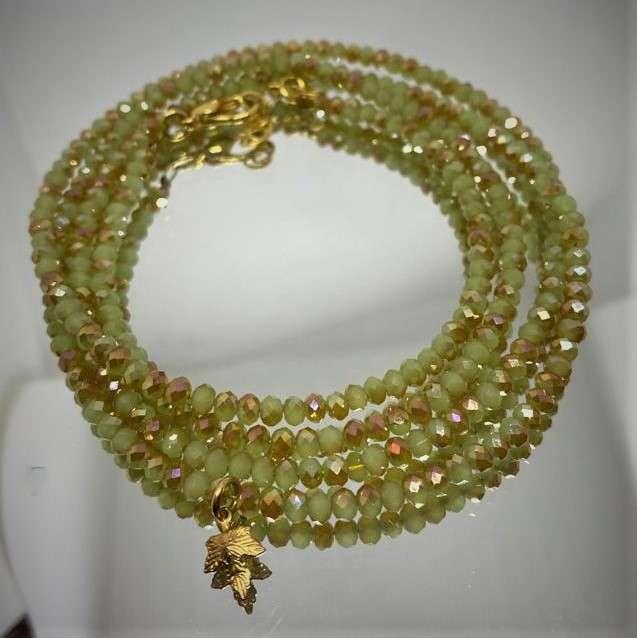 צמיד/שרשרת קריסטל בצבעי ירוק ושמפניה- מבריק