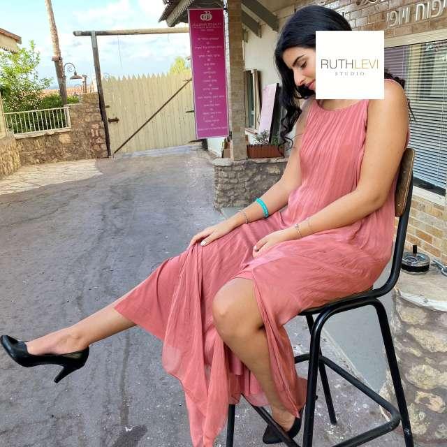 שמלת משי ארוכה מקסי- צבע ורוד אפרסק