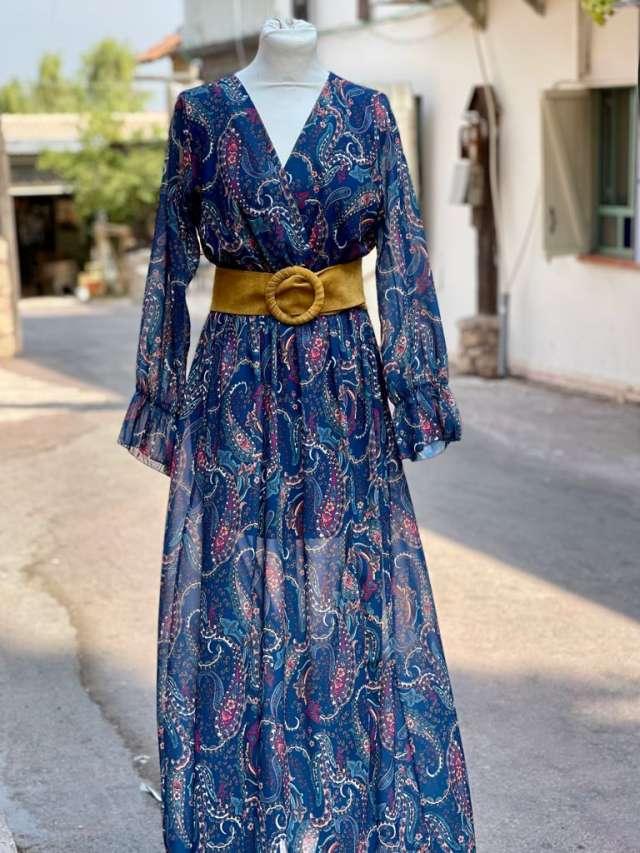 שמלת פרחים מקסי - רקע כחול