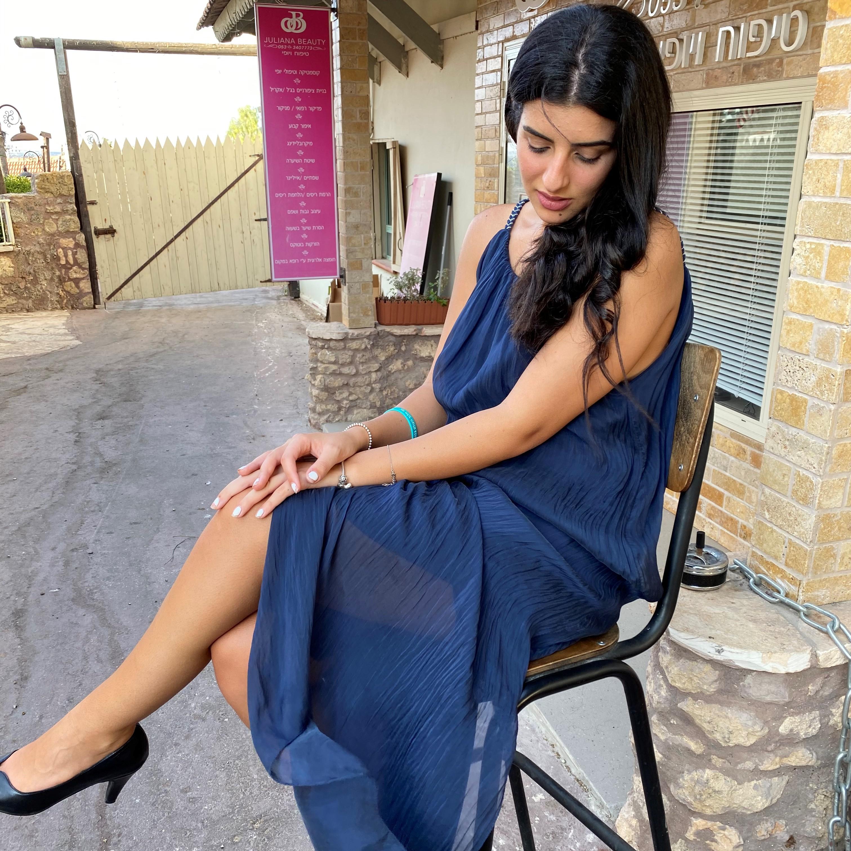 שמלת משי ארוכה מקסי- כחולה